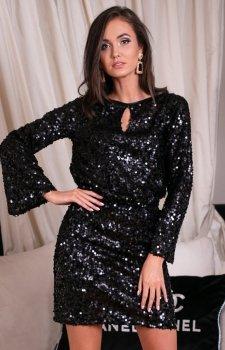 Cekinowa sukienka z wiązaniem czarna 0267