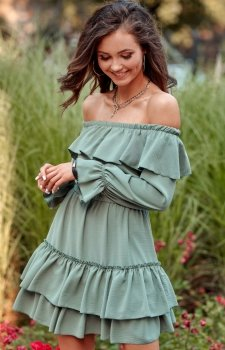 Kobieca sukienka hiszpanka khaki 0297