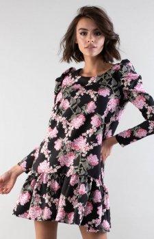 Luźna sukienka z falbanką w kwiaty NA195LP