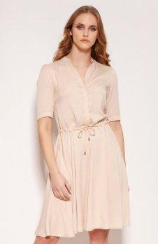 Sukienka z troczkiem i rozkloszowanym dołem beżowa SUK195