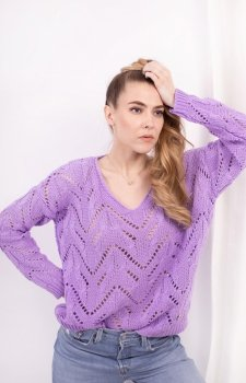 Ażurowy sweterek lila LS319