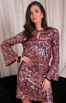 Cekinowa sukienka z wiązaniem różowa 0267