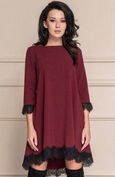 Roco 0117 sukienka bordowa