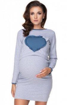 Koszula nocna do karmienia z sercem szara 0154