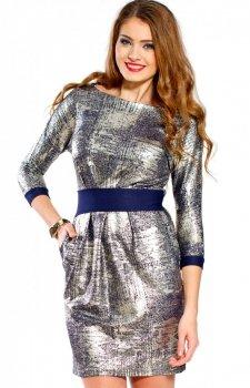 Bicot 2067-01 sukienka srebrno-granatowa