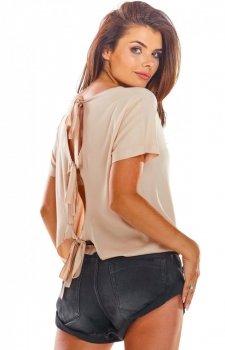 Bluzka z wiązaniami na plecach beżowa A292