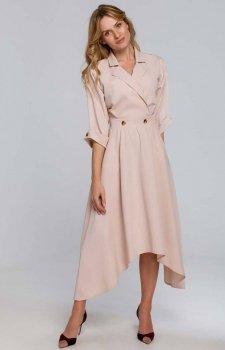Asymetryczna długa sukienka beżowa K086