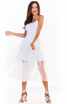Maxi spódnica z tiulem biała A354