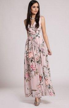 Szyfonowa długa sukienka letnia w kwiaty D03