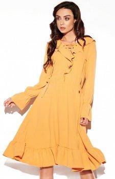 Rozkloszowana sukienka z wiązaniem karmelowa L313