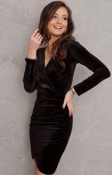Sukienka ołówkowa welur czarna 0318