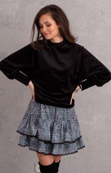 Welurowa bluzka damska czarna 0094