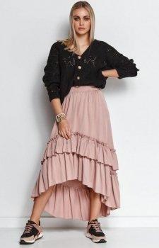 Długa spódnica z falbanami brudny róż M651