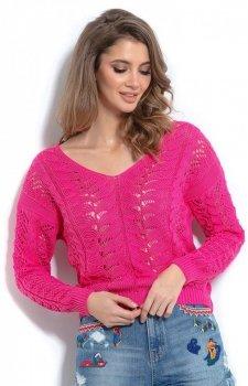 Lekki ażurowy sweterk różowy F1000