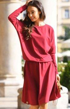 Bawełniana sukienka bordowa L347