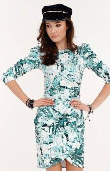 Ołówkowa sukienka z bufkami gazetowy wzór miętowy 0279