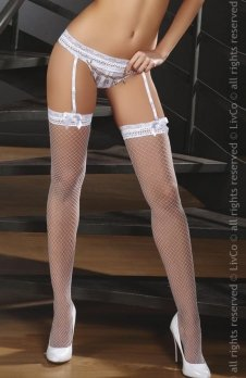 LivCo Corsetti Pas do pończoch ze stringami Celandine White + pończochy GRATIS!