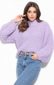 Ciepły gruby sweter damski fioletowy F1135