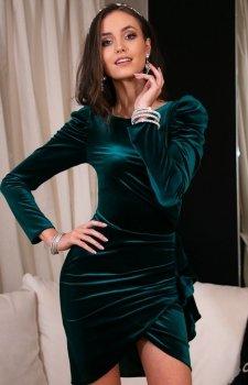 Wieczorowa zielona sukienka z bufkami 270