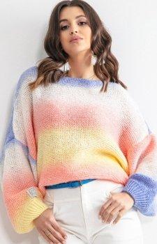Pastelowy oversizowy sweter bird F1162