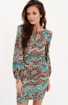 Ołówkowa sukienka z bufiastymi rękawami multi 0280/S27