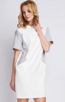 Lanti SUK124 sukienka biało-szary