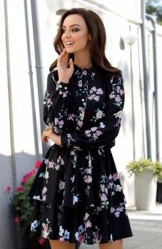 Lemoniade L281 sukienka czarna w kwiatki