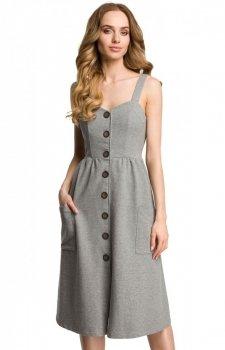 Moe M375 sukienka dzianinowa szara