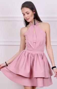 Rozkloszowana sukienka różowa Roco 0202