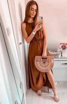 Elegancka sukienka rzymianka brązowa