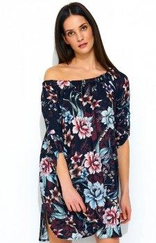 Wielokolorowa sukienka w kwiaty NU181