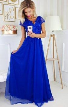 Wieczorowa długa sukienka chabrowa 2187-05
