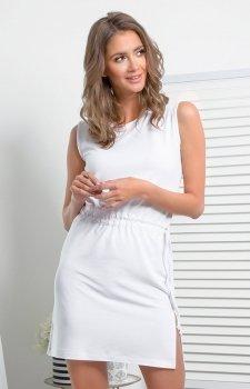 Prosta dzianinowa sukienka biała I337