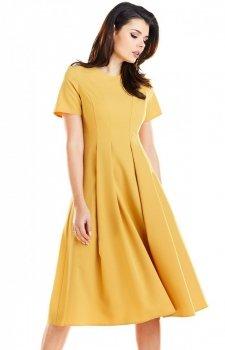 Sukienka zółta Awama A253
