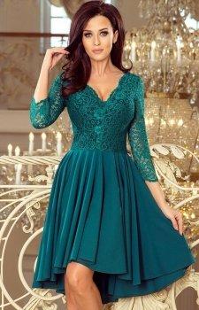 Sukienka z dłuższym tyłem zielona Numoco Nicolle210-8