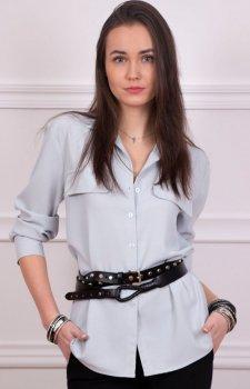 Koszulowa bluzka damska szara Roco 0050