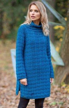 Fobya F599 sukienka sweterkowa ciemny niebieski