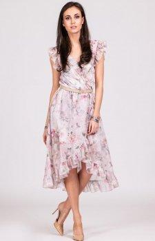 Szyfonowa sukienka w kwiaty z falbankami 252/D08