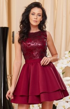 Roco 0161 sukienka bordowa