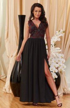 Roco 0166 sukienka bordowo-czarna