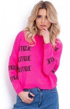 Fobya F623 sweter z napisami ostry róż
