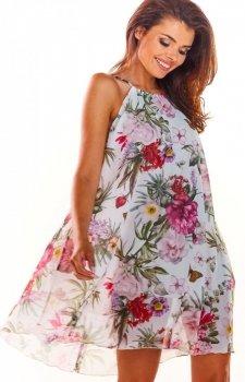 Luźna sukienka w kwiaty biała A289