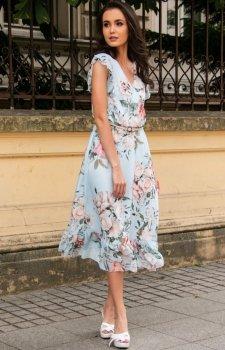 Modna sukienka midi w błękitne kwiaty 0250/D22