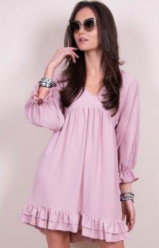 Luźna sukienka z falbanami różowa 0238