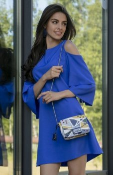 Fobya F543 elegancka sukienka chabrowa