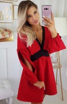 Carmel sukienka z rozcięciami na ramionach czerwona