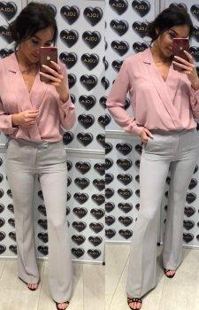 Rozszerzane spodnie typu dzwony szare
