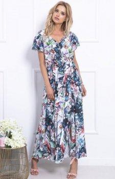 Biało-niebieska sukienka maxi w kwiaty F718