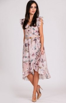 Szyfonowa sukienka w kwiaty z falbankami 252/D01
