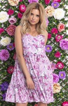 Letnia sukienka w różowe kwiaty F720